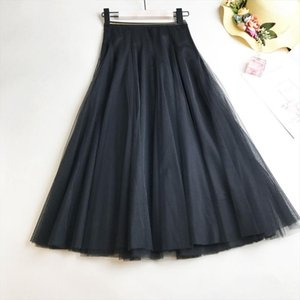 Women Elastic High Waist Tulle Mesh Skirt Spring Summer Vintage Long Pleated Tutu Female Loose Casual Skirts 2020 New Fashion