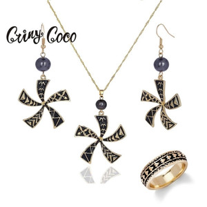 Cring Coco Hawaiian Jewelry Sets Women's Enamel Pearl Ring Pendants Trendy Long Chains Necklaces Earrings Polynesian 201222