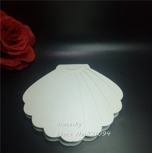 40pcs lot Free Shipping Laser die Cut Creative Shell Design folded Paper Wedding Invitation Cards RSVP Cards text personalized