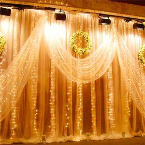 Строка 3x3m Рождество Открытый занавес Connectable Garland Led водонепроницаемый сад Свадьба Фея Свет Ac 110v / 220v