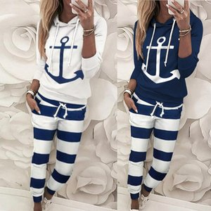 New Spring Women's Tracksuit set Lady patchwork Hooded Sportswear Suit Two Piece set Jumpsuit Long Sleeve pullover+pants 201012