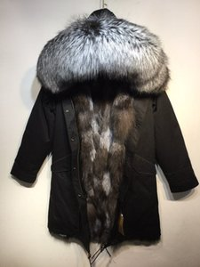 Sliver fox fur trim Mukla furs brand men winter coats black silver grey fox fur lining black long men parkas