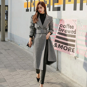 2020 Autumn Winter Coat Women Plaid Coats Fashion Long Woolen Coat Slim Waist Belted Jackets Female Outwear Korean Style