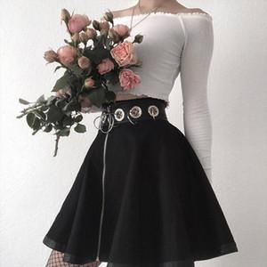 2020 Saias Femininas Elegante Steampunk Skirts Womens Party Gothic Punk Black Zipper Hollow Out Sexy Short Mini Skirt Z4