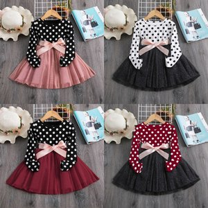 Wave Point One Piece Dress Fashion Long Sleeves Dot Baby Girl Party Princess Dresses Autumn Winter 32rs K2