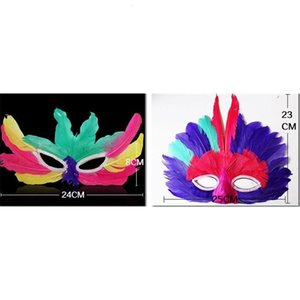 Lady Diy Party Mask Мода Сексуальные Женщины Хэллоуин Mardi Gras Карнавал Красочные Куриные Перо Венеция Маски Подарочная Капля Ши