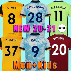 2020 Wölfe Fußball Jersey Kids Kit Home Yellow J.Moutinho Raul Neves Podence Football Hemden Dendoncker Adama Wölfe Fußball Uniform 20/21