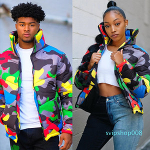 2019 Camo Print Winter Jacket Women Festival Warm Parka Down Bubble Coat Top Warm Thick Parka Couple Wear Crop Puffer Jacket 4XL T200114