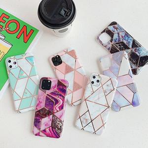 iphone 7 8 Artı 11 Pro Max 12 Mini Elektroliz Geometrik Marble Yumuşak IMD Arka Kapak İçin Telefon Kılıfı