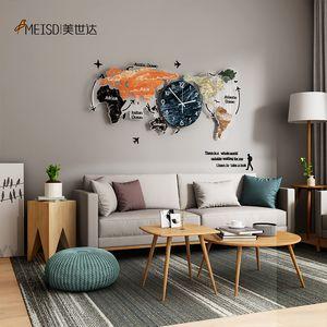 Meisd Original World Map Watch Große dekorative Uhren Quarz Silent Wohnzimmer Wohnkultur Wand Horloge Heißer Verkauf Kostenloser Versand 201118