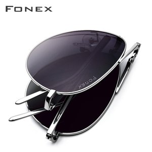 Fonex Pure Titanium Polarized Sunglasses Folding Pilot Sun Glasses for Men New Brand Designer High Quality Shades 838