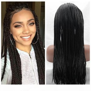 Cheap Wig 30#1b# Brown Black Braided Wigs with Baby Hair Long Braids Wigs Glueless Synthetic Lace Front Wigs for Black Women Heat Resistant