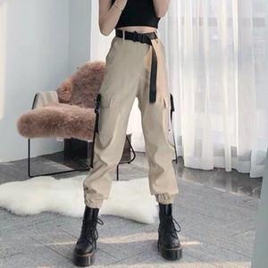 Cada uno de las mujeres de la moda auto cinturón de la cintura elástica pantalones de carga femenino suelto streetwear pants casual talla grande pantalones de estilo coreano 201111