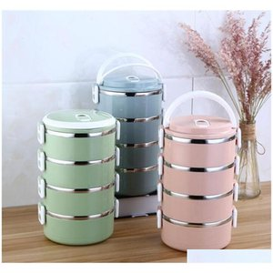 Stainless Steel Lunch Box With Handle Bento Box Food Storage Container Insulation Student Lunch Box Dinnerware Sytip