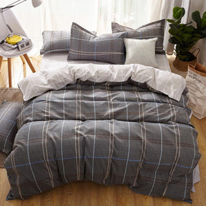 2020 New grey bedding set stripe bedclothes 3 4pcs bed linens duvet cover+flat sheet+pillowcase fashion bed set sweet home cover