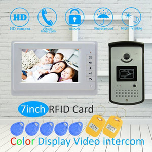 7-дюймовый ЖК-экран цветного экрана Home Smart Wired Doorbell Ring RFID Видео Дверь Телефон Домофон Ночная Ночная Видимая камера1