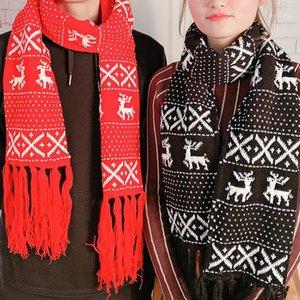 CWFMZQ старинные рождественские шарф женские мужчины 2020 зима сгущает теплые влюбленные влюбленные хиджабы кисточки длинные трикотажные шалы шарфы обернуть подарок1
