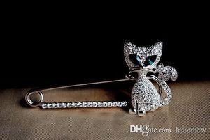 Broş Güzel Mücevher Fox Güney Kore Sıcak Satış Yeşil gözlü kedi Fox Rhinestone Hayvan Broş Pin Noel Broş