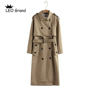 Vee top 여성 캐주얼 솔리드 컬러 더블 브레스트 outwear 패션 슈즈 오피스 코트 세련된 epaulet 디자인 긴 트렌치 902229 201030