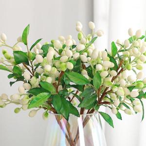 2 pcs / 5 ramo Falso Blueberry Filial, planta artificial Floral decoração para jardim Home Ramadan, Greenery Faux Plantas, suculentas falsas1