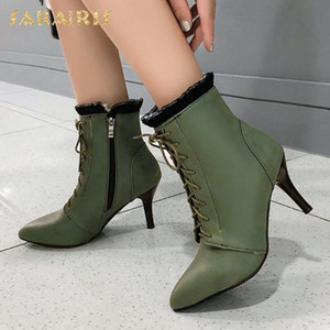 Brand New Big Size 43 Thin Heels Elegant Shoelaces Pointed Toe Lace Shoes Women Office Lady Ankle Boots Female