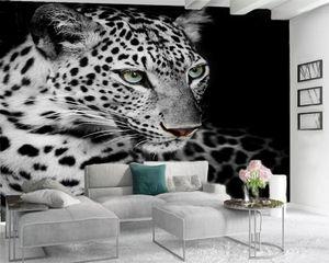 Fond d'écran personnalisé 3d animal moderne Peinture murale 3d Fond d'écran Féroce Spotted Tiger 3d papier mural pour Salon Photo faite sur commande