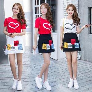 Korean Short Sleeved T shirt Skirt High Waist Skirt Two piece Suit 3 Best Friends Gifts Twin Clothing Roommates A line 2