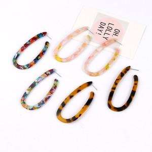 U şekli leopar baskı küpe çok renkli bayan büyük küpe geometri şekiller kadın kulak çiviler moda aksesuarları 2 1SFA P2