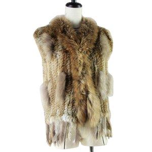 el envío de las mujeres libres Harppihop piel natural verdadero del conejo chaleco con cuello de piel de mapache chaleco / chaquetas de punto de conejo rex winte 200930