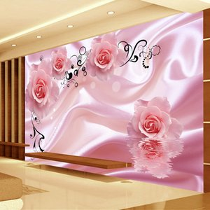 3D Romantic Rose Flower Vine Art Silk Wall Painting Wallpaper Modern Living Room Bedroom Custom Photo Covering