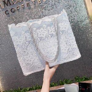 Bolsa de ombro praia verão vintage tekiessica tote saco de holograma branco laço mulheres bolsas sacos cqgct