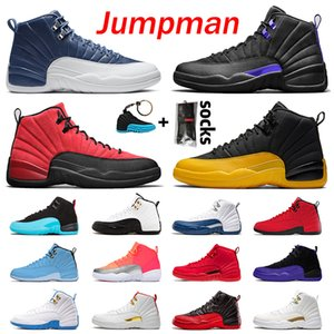 أحذية air retro jordan 12 jordans 12s STOCK X أحذية كرة السلة Jumpman 23 DARK CONCOR REVERSE XII FLU GAME Gold FIBA Gym  حذاء رياضي رجالي جديد الحجم EUR 47