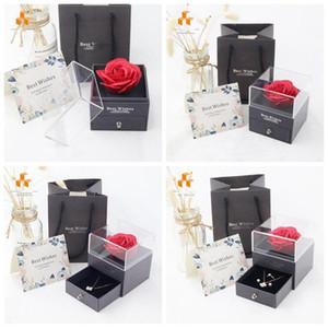 Rose Flower Jewelry Caixa Colar Caixa de Preservada Caixa de Presente de Caixa de Aniversário para Dia dos Namorados Dia das Mães HH21-04