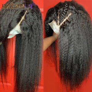 Kinky прямой парик 13 * 4 кружева фронт симуляции человеческих волос парики сброшенные яки кружева парик 13x4 кружевной закрытие синтетический парик для чернокожих женщин
