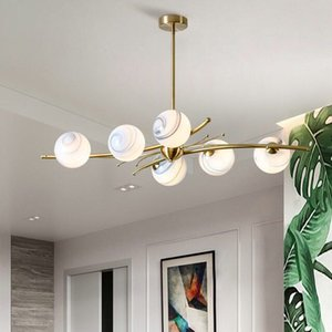 Modern Glass Ball Ceiling Chandelier Living Bed Room Gold Hanging Lamps Fxiture Luminaire Nordic Led Lighting Kitchen Home