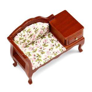1:12 Dollhouse De Madeira Miniatura Sofá Decoração Simulação Handmade Mini Bedroom Mobiliário Y200428