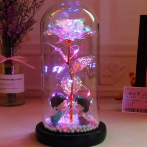 Artificial Flower Roses In Glass Cover With Led Night Light Ornaments Wedding Valentine Day Christmas New Year Home Decoration