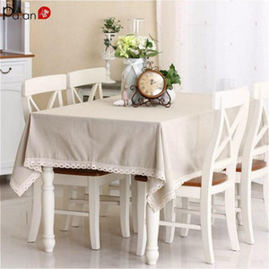 Basic Linen Tablecloth with Lace Elegant Ivory Beige Pastoral Table Cover Dining Table Cloth Cotton Lace Tablecloths Customized1
