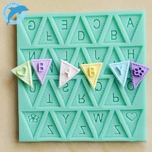 LINSBAYWU cooking tools Flag Shape 26 English Letters Silicone Mold Chocolate Fondant Cake Decorating Tools Free shipping PFd4#