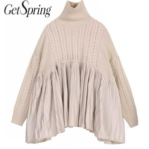 GetSpring Women Sweater Long Sleeve Turtleneck Knitted Sweater Pullovers Pleated Spliced Sweater Dress Loose Autumn Winter 201019