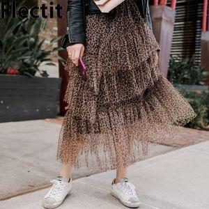 Flectit leopardo pannello esterno di Tulle Donna Autunno Inverno asimmetrica Layered Ruffle Mesh Gonna longuette stile vintage * 1015
