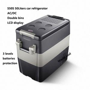 50L AC / Car DC12V24V Frigorifero auto Freezer più fresco di campeggio portatile Mini Frigo compressore Frigorifero Fridge RsmM #