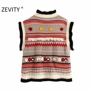 Zevity New Women Fashion Color Matching Apliques Floral Appliques Punto Suéter Ladies Sin mangas Casual Chalecos Suéteres Chic Tops LJ201126