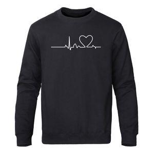 Funny Mountain Heartbeat Print Sweatshirt Sportswear Men Fashion Love Couple Sweatshirts Autumn Winter Harajuku Streetwear