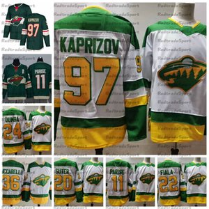 2021 Reverse Retro Minnesota Wild 97 Kirill Kaprizov 22 Kevin Fiala 24 Matt Dumba 11 Zach Parises Ryan Suter Mats Zuccarello Hockey Jerseys