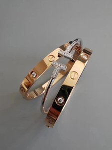 With gift box packaging gold luxury designer jewelry women bangles rose gold silver Screwdriver Bangles men charm screw bracelet Couple