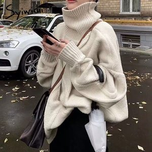 syiwidii cuello alto suéter de las mujeres más tapa del tamaño de Corea del suéter de gran tamaño Harajuku moda de invierno suéter suéteres largos nueva 201023
