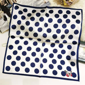 POBING 100% reine Seide Schal Frauen Dot Foulards Wraps Silk Foulard-Kopf-Bindung Halstuch Hijab Bandana Bufands 53x53cm Print