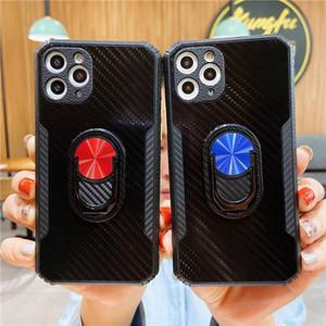 탄소 섬유 아크릴 + TPU 아이폰 12 11 Pro Max XS XR XS Max 7 8 플러스 손가락 링 홀더