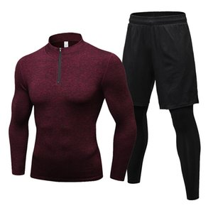 Fanceey 2pcs Sportswear Man Musculação Treino Homens Esporte usam ternos Rashgard Kit Mens Sports Academia de compressão Roupa interior